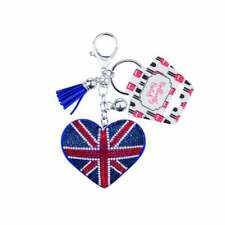 Union Jack Heart 'diamonds' Keyring / bag charm