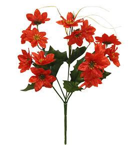 Artificial Red MINI POINSETTIA Bush Silk Fake Miniature Christmas Bouquet Flower