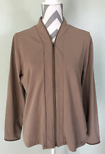 L.L. BEAN LL Womens Brown Nude Athletic Thermal Layer Zip Coat Jacket Sz L Large