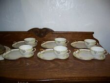 6 Nippon Snack or Tea Sets Small Pink and Blue Flowers!