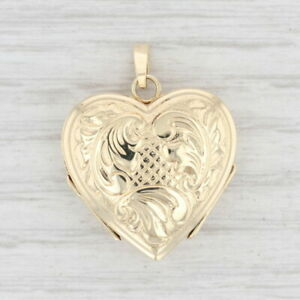 Vintage Ornate Floral Heart Locket Pendant 14k Yellow Gold Picture Holders
