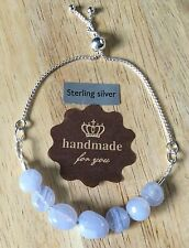 BLUE LACE AGATE and STERLING SILVER SLIDING BOLO BRACELET - HANDMADE