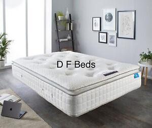 Geltex luxury 4ft 6 Double pillow top pocket sprung mattress  RRP £1299.99