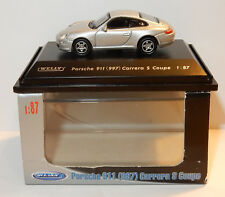 MICRO WELLY COLLECTION PORSCHE 911 997 CARRERA S COUPE GRISE HO 1/87 IN BOX b
