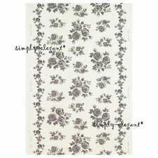 "New IKEA ROSMARIE Fabric White / Gray Grey Floral Roses Width 59"" sold by yard"