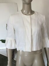 Ralph Lauren Black Label White Linen Cropped Jacket Size 4 Ruffle Sleeve