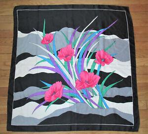 """J"" Large Silk Scarf Bold Pink Poppies 35"" X 34"" Blue Green Gray Black"
