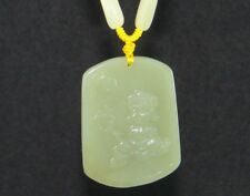 "2"" China Certified Nature Hetian Nephrite Jade Blessing Buddha Necklace Pendants"