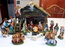 "22 Pc Creche Set Vintage Italy Christmas Paper Mache Nativity Scene 20"" Stable"