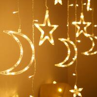 Moon/Star LED Fairy Curtain String Lights for Wedding Room Decor Lamp Warm White