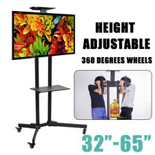 """LED PLASMA LCD TV STAND MOUNT BRACKET MOBILE TROLLEY WITH WHEELS 32 to 65"""" Black"""