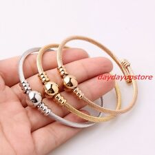 3pc/set Silver Rose Gold 3mm Twisted Women Cuff Bangle Stainless Steel Bracelet