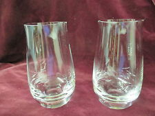 Vintage 2 Red Wine stemless Glasses hand blown weighted bottoms flare top