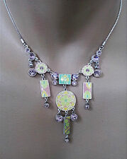 NEW PILGRIM SILVER CHAIN NECKLACE GEO COLLECTION CRYSTALS ENAMEL FLOWER PENDANT