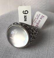 Lia Sophia Alabaster Ring Size 6 Brushed Matte Silver Tone Signed NWTIB Statment