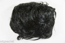 Black with 5% Grey Brunette Medium Human Hair Monofilament Wavy Curly Toupee