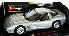 Bburago 3056: Chevrolet Corvette 1997, silber, Metall-Modell in 1/19, NEU & OVP