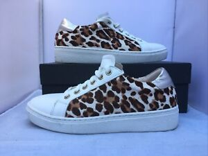Mint Velvet Trainers Sneakers Leopard Print Allie White Womens Size Uk 4 Boxed