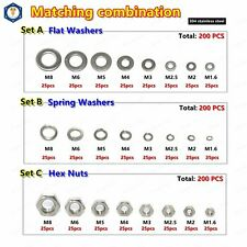 200pcs 304 Stainless Steel Hex Nuts Flat Washers Spring Lock Washers Assortments