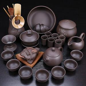 authentic Chinese yixing zisha tea set original ore complete tea set pot cup net