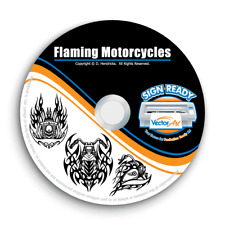 TRIBAL FLAMES MOTORCYCLES-BIKES CLIPART-VECTOR CLIP ART-VINYL CUTTER PLOTTER CD