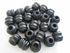 "Bag of 24 Large Black Wood Carved Grooved Macrame Craft Beads 1"" Inch 24mm"