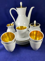 Vintage Bareuther Waldsassen Bavaria Germany 15 Piece Coffee Set White & Gold