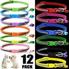 12PCS Lot Small Dog Collars Pet Cat Puppy Nylon Collar Neck  Adjustable Buckle