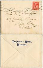 GB IMPERIAL HOTEL MALVERN EMBOSSED FLAP ENVELOPE 15 JUNE 1915
