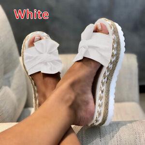 WOMENS LADIES FLATFORM SUMMER BOW SLIDERS SLIP ON MULE FASHION SANDALS SHOES UK