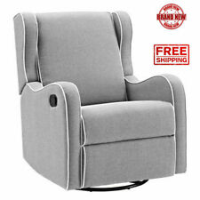 Glider Baby Rocker Rocking Chair Swivel Recliner Nursery Furniture Gray Seat New