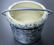 VINTAGE MOIRA POTTERY ENGLAND BLUE SPLATTER CROCK W/WIRE HANDLE