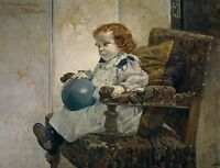 """perfact oil painting handpainted on canvas """"a little girl and a ball"""" NO2861"""