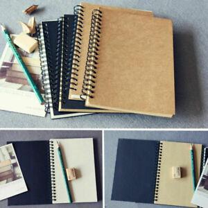 1x Retro Spiral Bound Coil Sketch Book Blank Notebook Kraft Sketching Paper