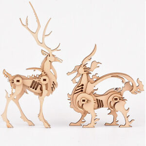 Xmas Gift DIY 3D Wooden Animal Puzzle Assembly Model Toy Children's Educational