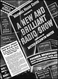 1937 MGM Maxwell House Coffee Show debut NBC Red Network retro art print ad LA18