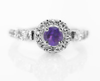 925 Sterling Silver Ring Natural Amethyst Solitaire Gemstone Size 4-11