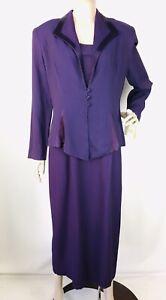 VTG DJ Summer Purple Satin Trim Dress and Jacket Suit size 12P