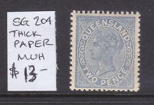 Qld: 2d Qv Blue Thick Paper Sg 204 Muh.