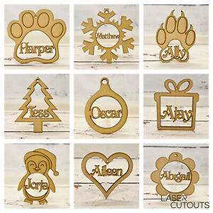 4x Personalised Christmas Tree MDF Decoration Bauble Wooden Shape name gift tags