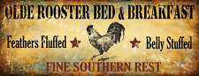 Old Rooster Bed and Breakfast Metal Sign, Kitchen Decor, Country Home