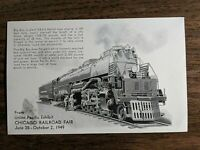 1949 UNION PACIFIC BIG BOY POSTCARD FROM CHICAGO RAILROAD FAIR $12