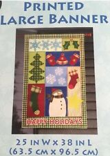 """Holiday Red Hat Mitts White Snowman Country Patch 25"""" X 38"""" Larg 00004000 e Banner Flag"""
