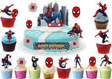 Spider man avengers cup cake scène topper gaufre comestible anniversaire stand up custom