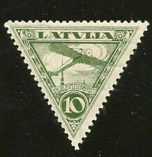 LATVIA TRIANGLE AIR POST MINT STAMP FROM 1930s BLERIOT XI AIRCRAFT P11 C6a CV$14