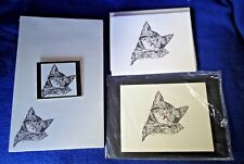 Sleeping Kitten 4 Pc Set-Notepad, 6 Blank Notecards, Linen Envs, Print & Magnet