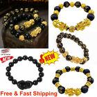 Feng Shui Black Obsidian Beads Bracelet Attract Wealth & Good Luck Bangle pixiu~