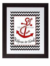 Black Chevron Anchor Refuse to Sink Wall Art Print Poster Nautical Bathroom