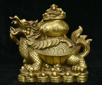 "9"" Chinese Brass Wealth Treasure Bowl Dragon Tortoise Turtle Statue Sculpture"