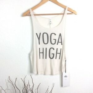 "NWT ALO YOGA Myriad ""Yoga High"" Graphic Ribbed Racerback Tank Size S"